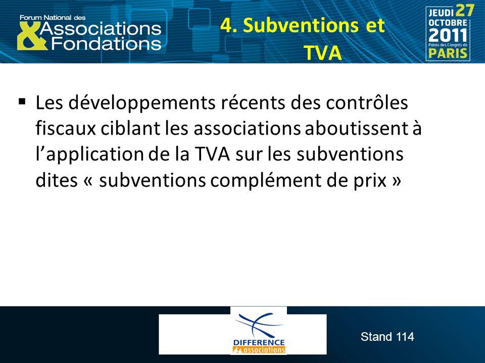 4. Subventions et TVA