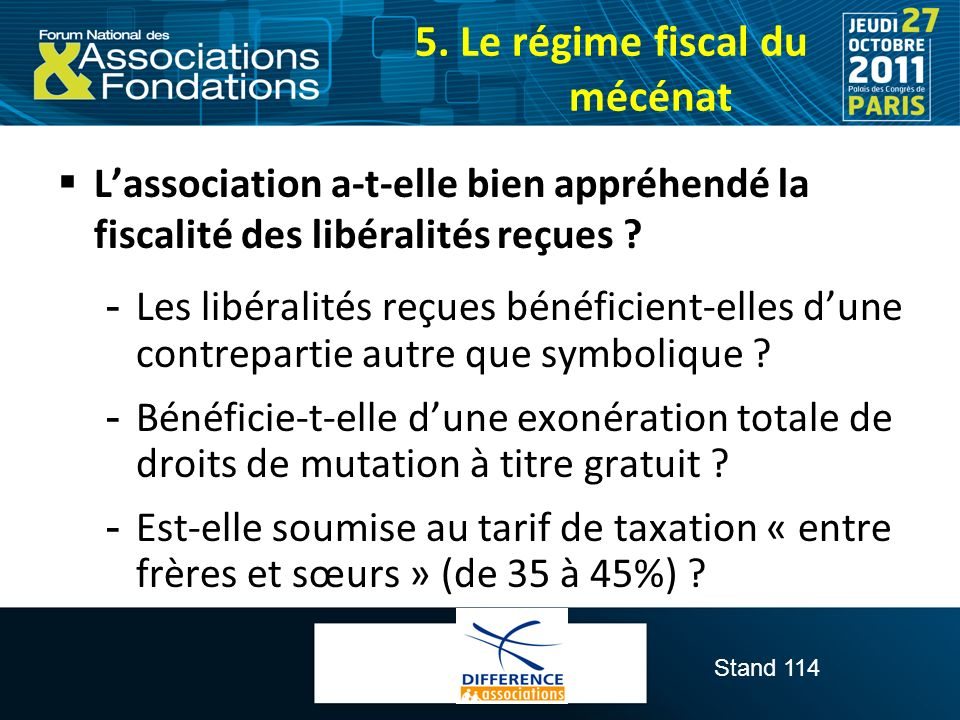 5. Le régime fiscal du mécénat