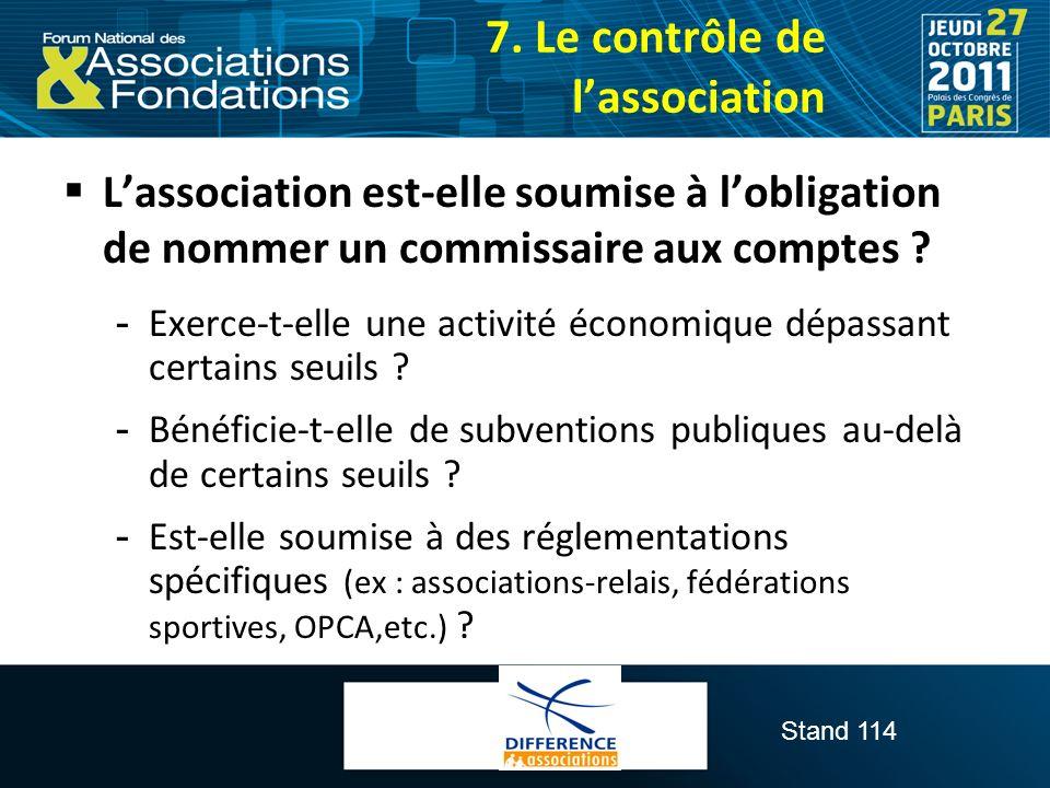 7. Le contrôle de l'association