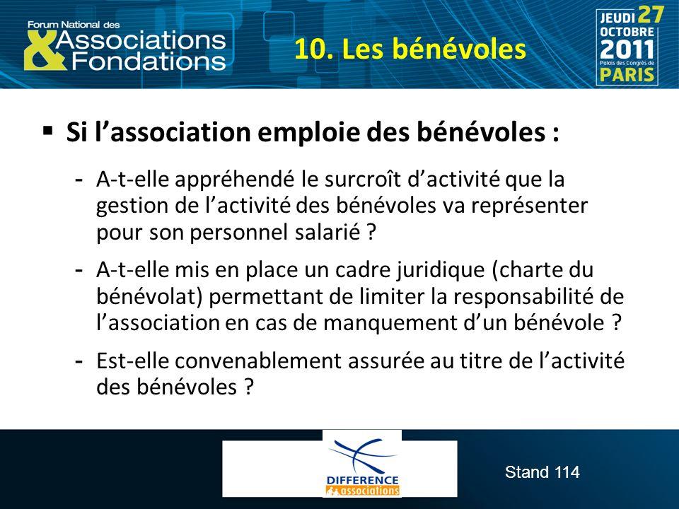 10. Les bénévoles Si l'association emploie des bénévoles :