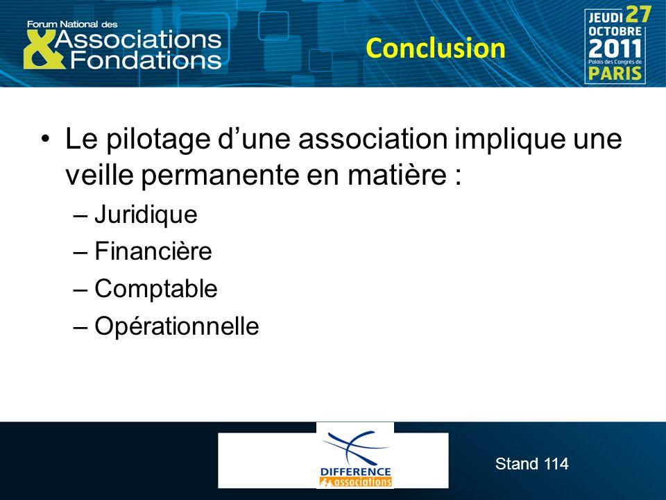 Conclusion Le pilotage d'une association implique une veille permanente en matière : Juridique. Financière.