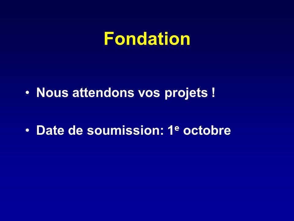Fondation Nous attendons vos projets ! Date de soumission: 1e octobre