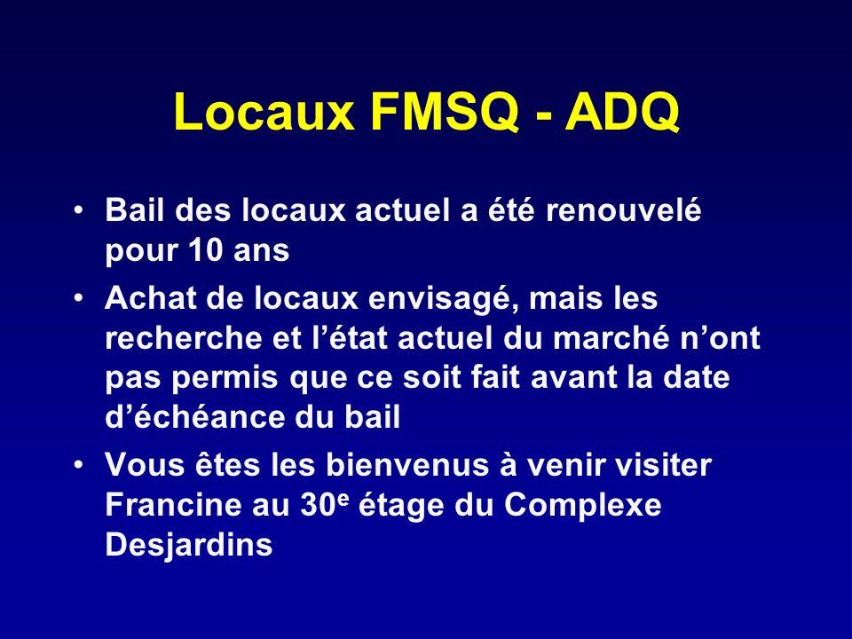 Locaux FMSQ - ADQ Bail des locaux actuel a été renouvelé pour 10 ans