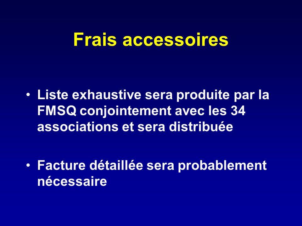 Frais accessoires Liste exhaustive sera produite par la FMSQ conjointement avec les 34 associations et sera distribuée.
