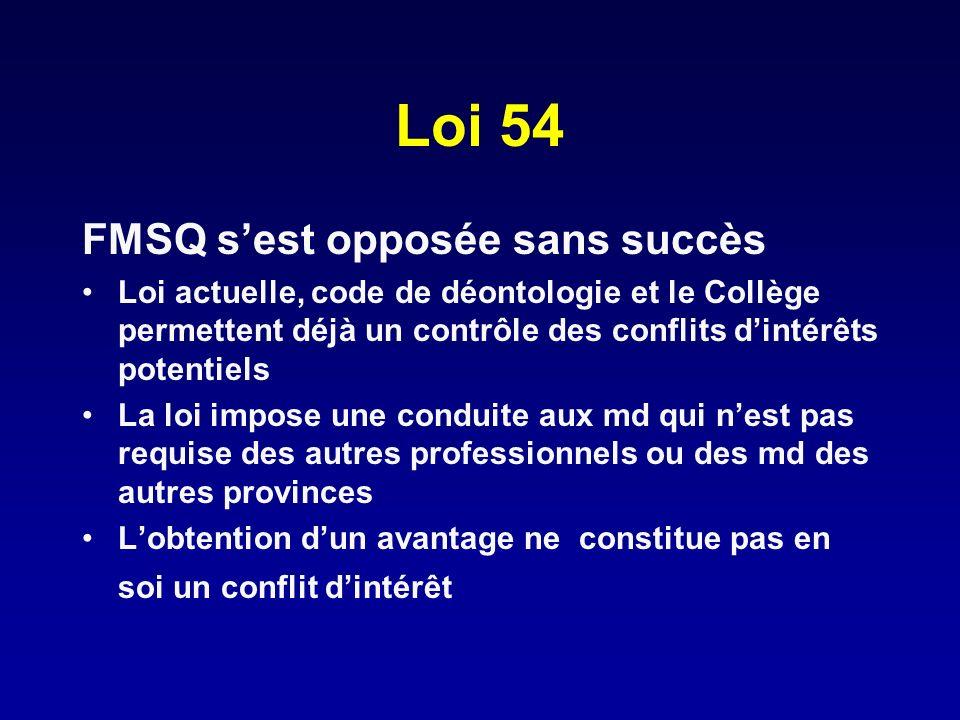 Loi 54 FMSQ s'est opposée sans succès