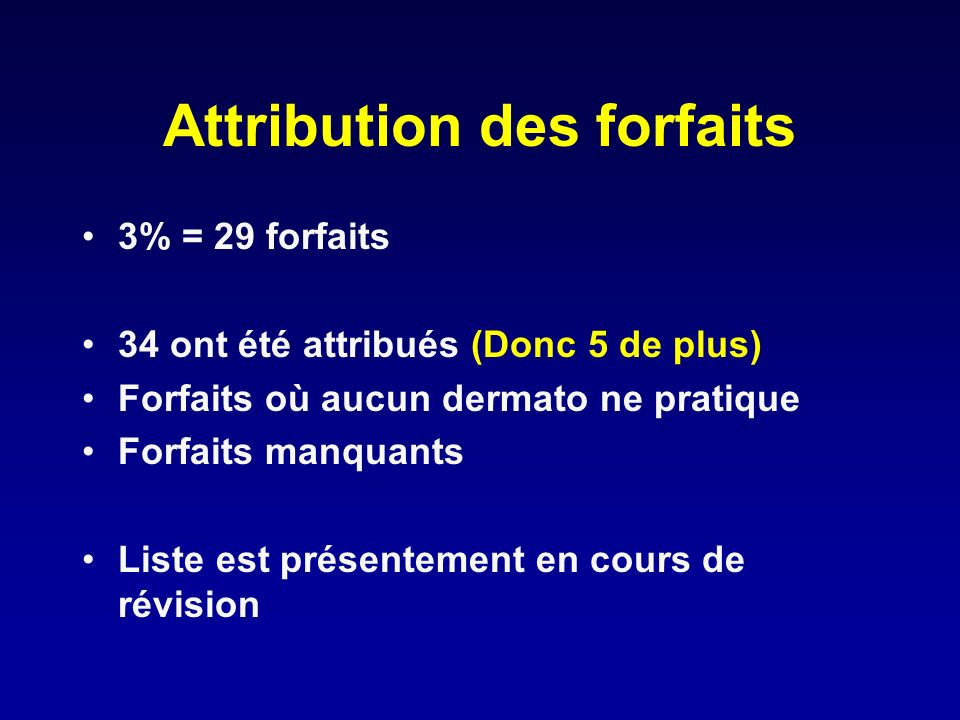 Attribution des forfaits