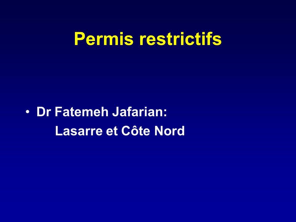 Permis restrictifs Dr Fatemeh Jafarian: Lasarre et Côte Nord