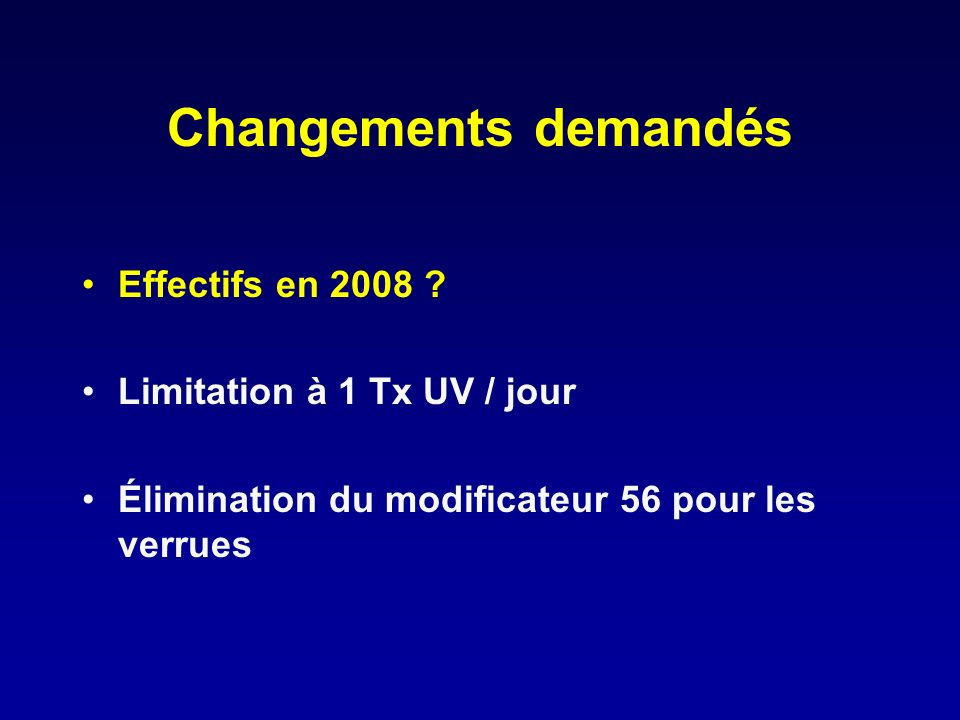 Changements demandés Effectifs en 2008 Limitation à 1 Tx UV / jour