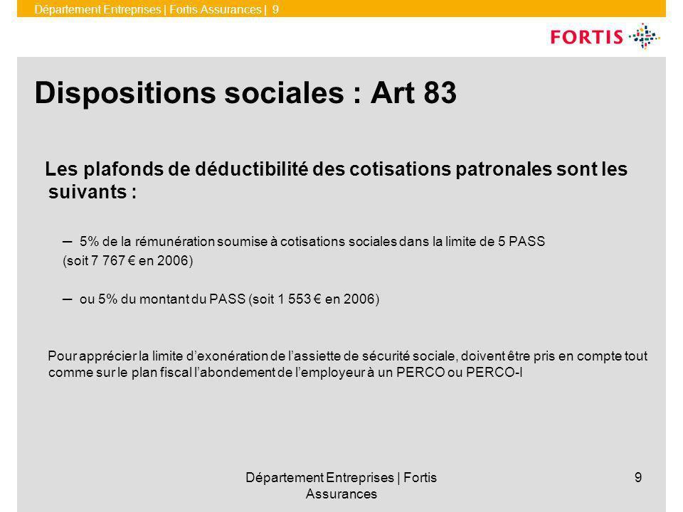 Dispositions sociales : Art 83