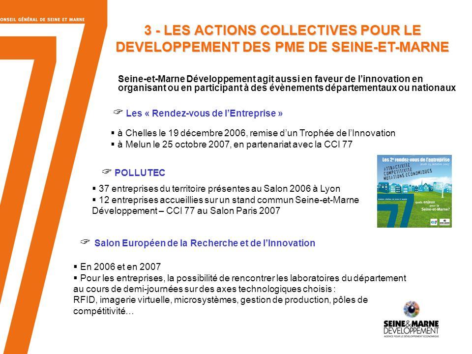 3 - LES ACTIONS COLLECTIVES POUR LE DEVELOPPEMENT DES PME DE SEINE-ET-MARNE