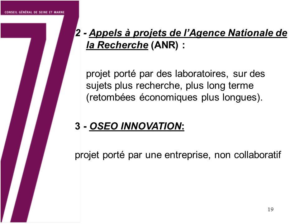 2 - Appels à projets de l'Agence Nationale de la Recherche (ANR) :