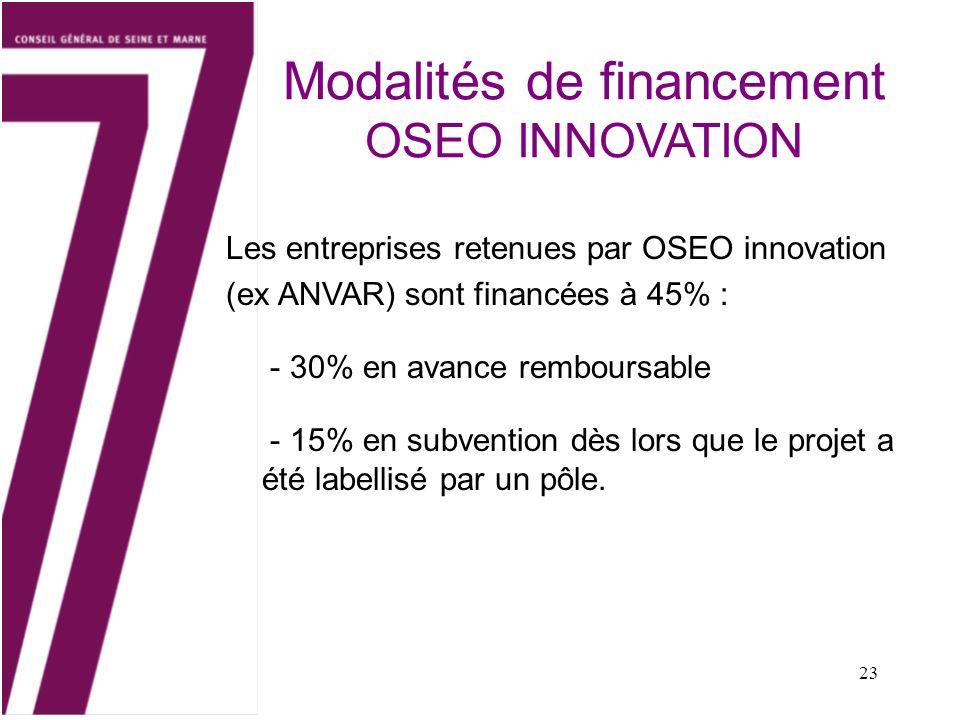 Modalités de financement OSEO INNOVATION