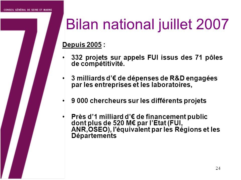 Bilan national juillet 2007