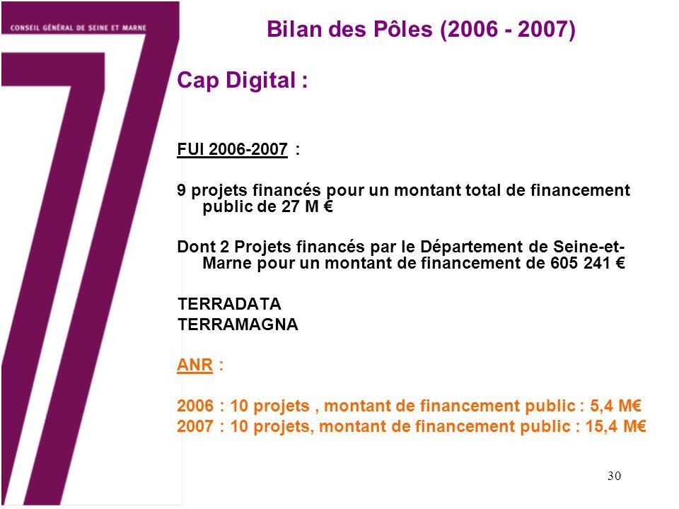 Bilan des Pôles (2006 - 2007) Cap Digital : FUI 2006-2007 :