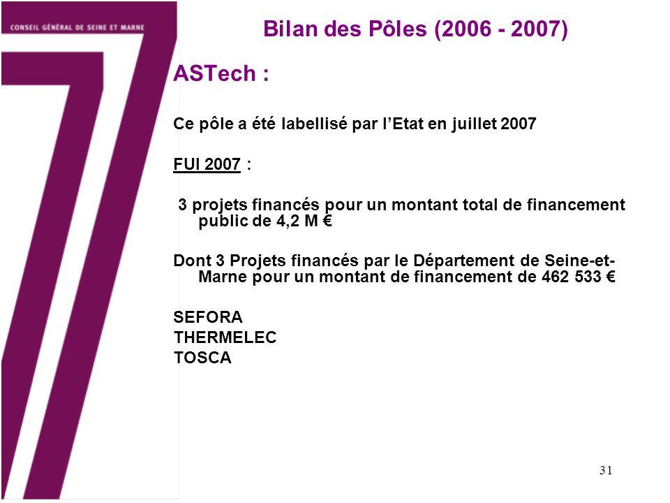 Bilan des Pôles (2006 - 2007) ASTech :