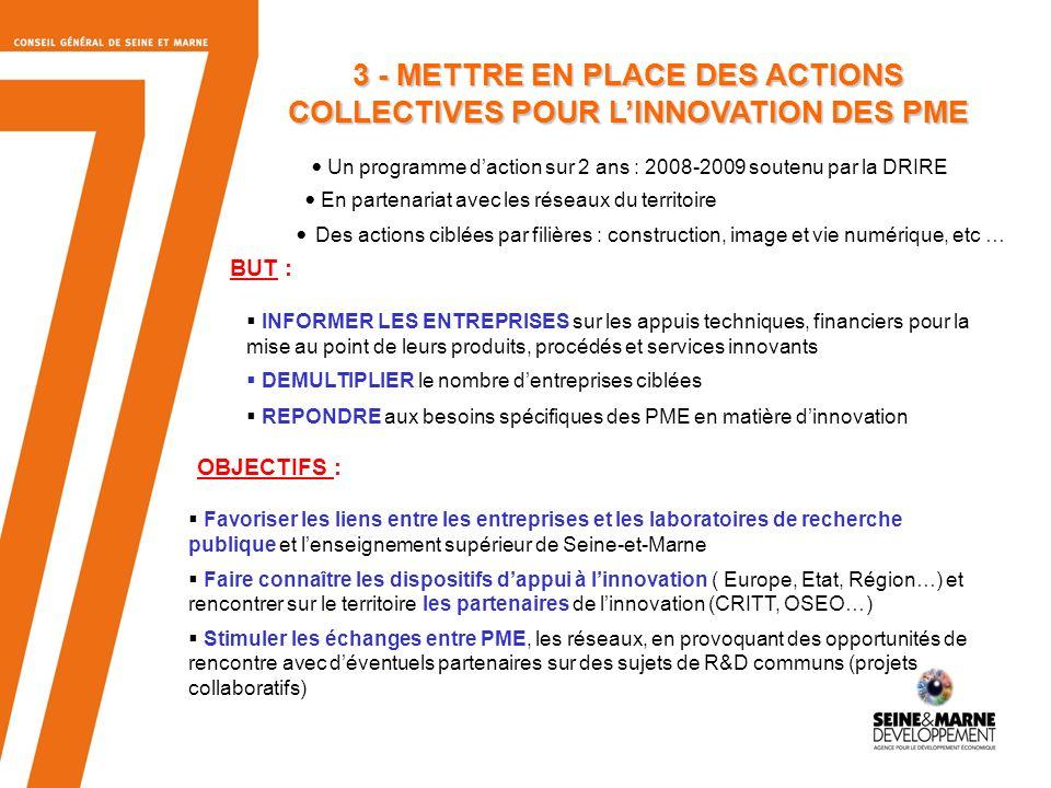3 - METTRE EN PLACE DES ACTIONS COLLECTIVES POUR L'INNOVATION DES PME