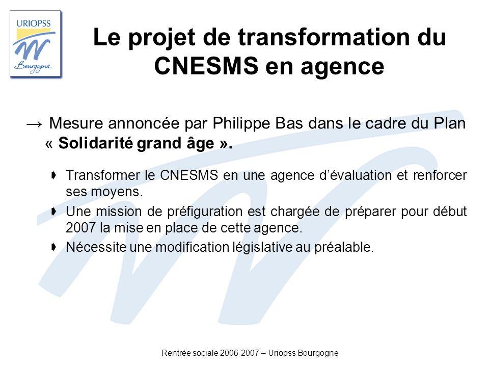 Le projet de transformation du CNESMS en agence