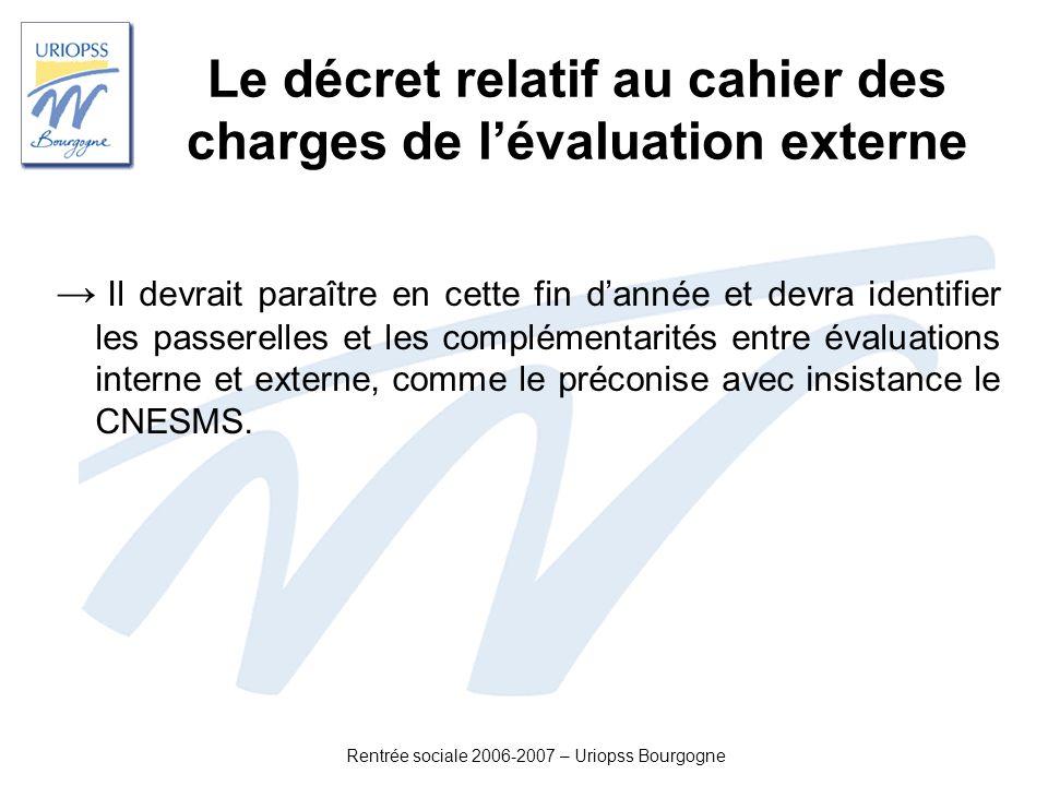 Le décret relatif au cahier des charges de l'évaluation externe