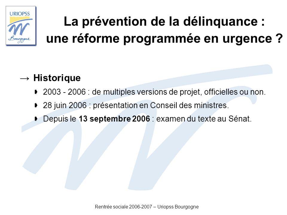 La prévention de la délinquance : une réforme programmée en urgence