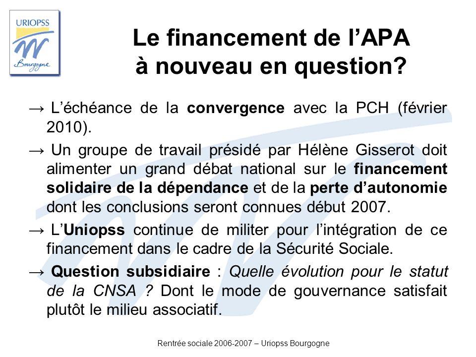 Le financement de l'APA à nouveau en question