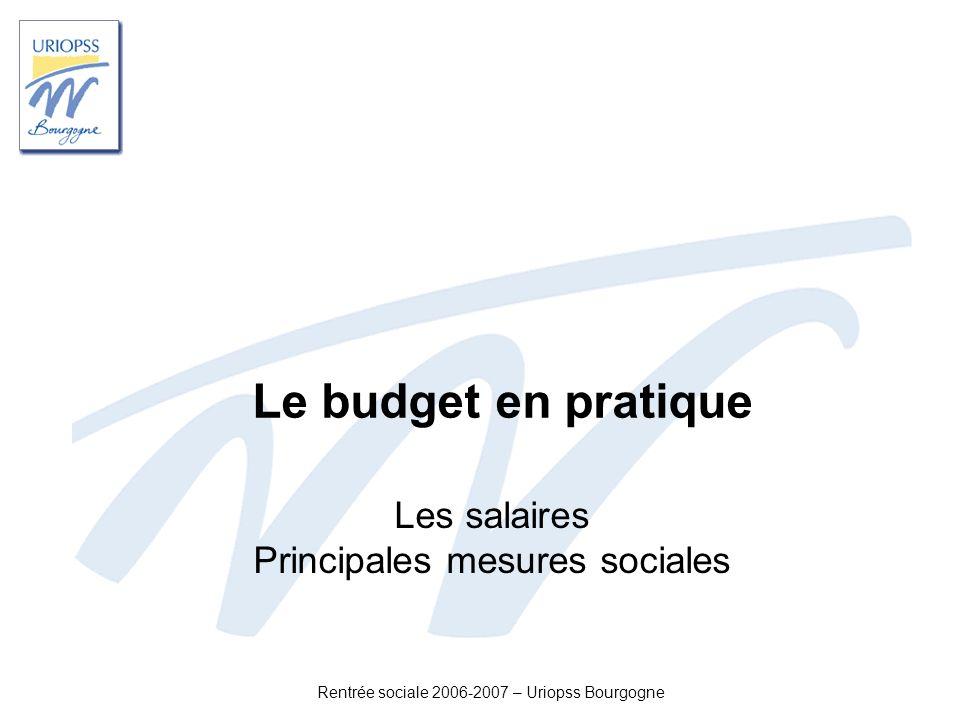 Les salaires Principales mesures sociales