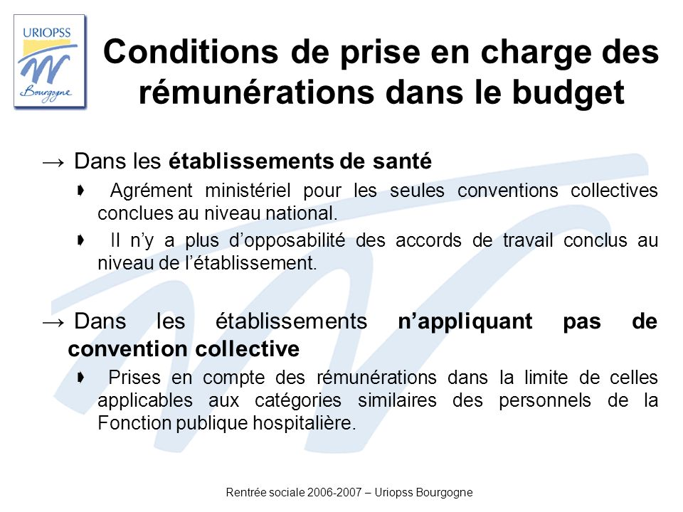 Conditions de prise en charge des rémunérations dans le budget