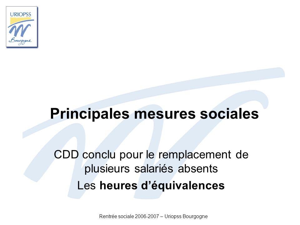 Principales mesures sociales