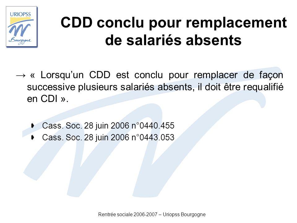 CDD conclu pour remplacement de salariés absents