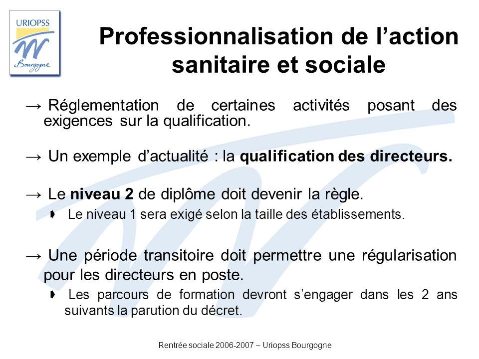 Professionnalisation de l'action sanitaire et sociale