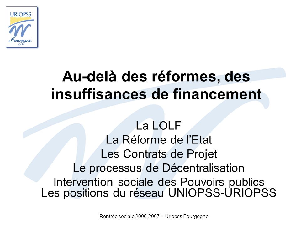 Au-delà des réformes, des insuffisances de financement