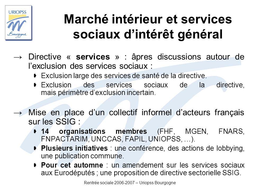 Marché intérieur et services sociaux d'intérêt général