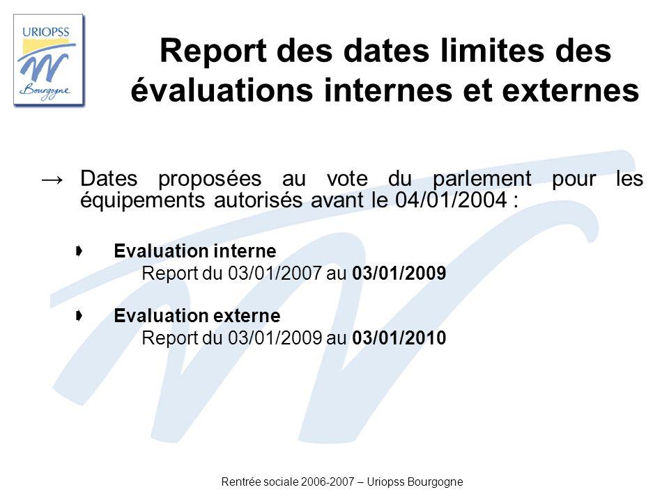 Report des dates limites des évaluations internes et externes