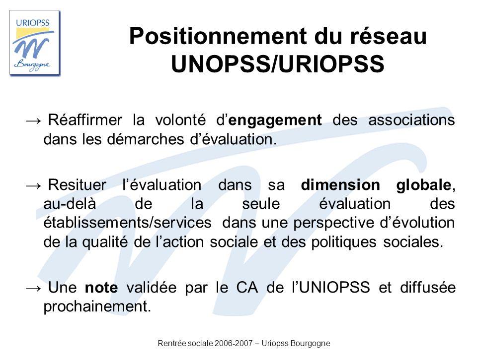 Positionnement du réseau UNOPSS/URIOPSS