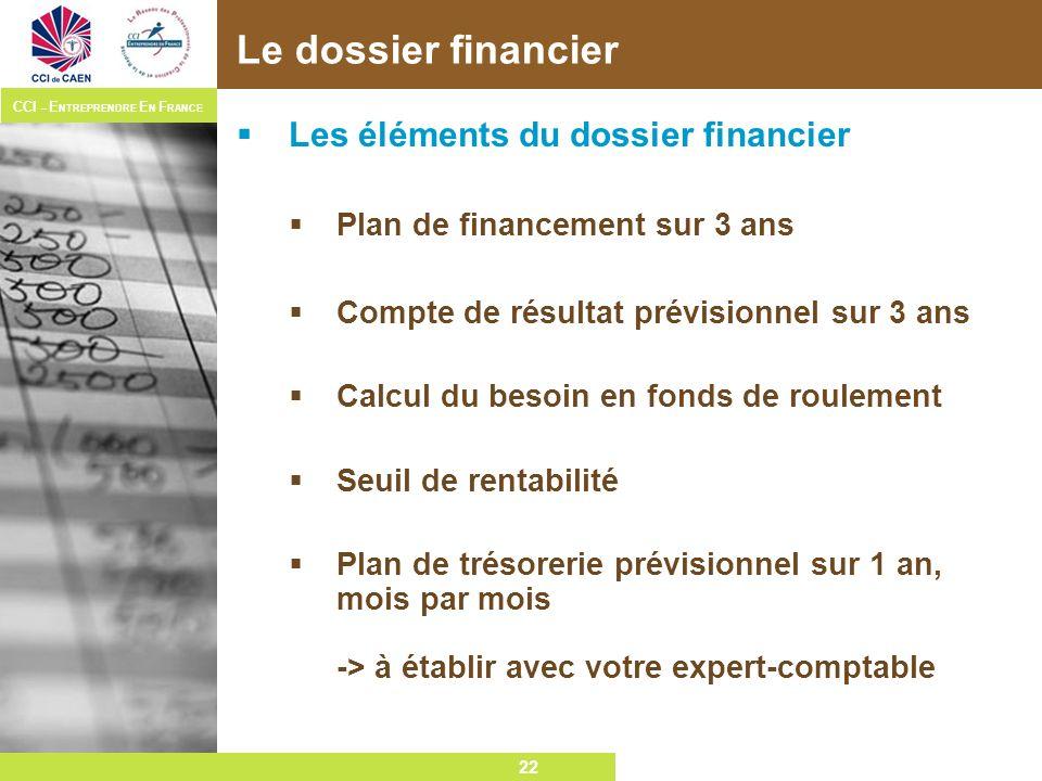 Le dossier financier Les éléments du dossier financier