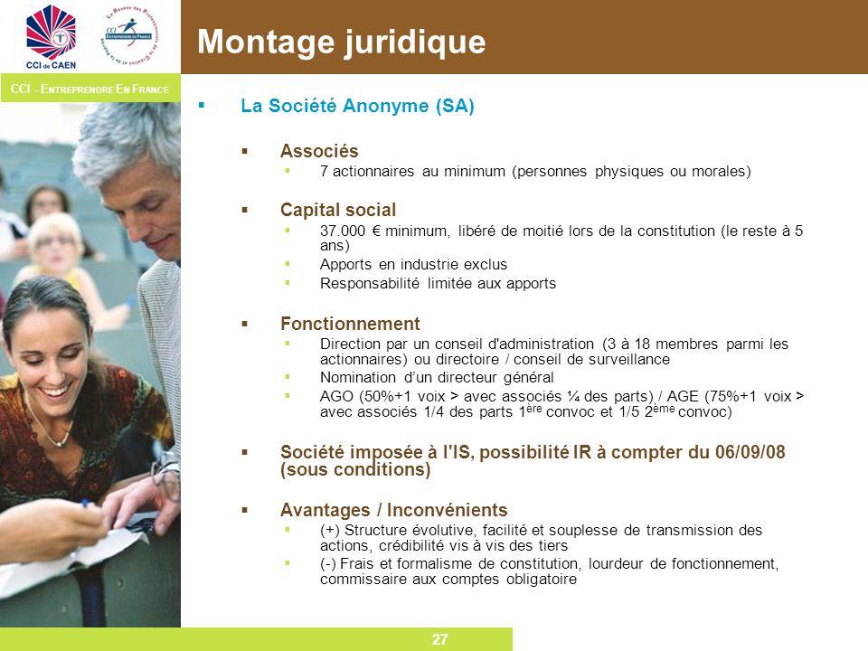 Montage juridique La Société Anonyme (SA) Associés Capital social
