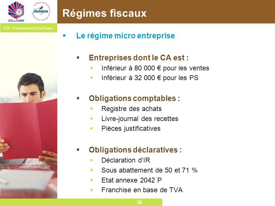 Régimes fiscaux Le régime micro entreprise