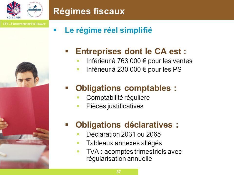 Régimes fiscaux Entreprises dont le CA est : Obligations comptables :