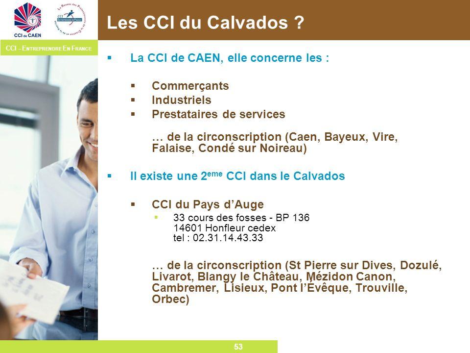 Les CCI du Calvados La CCI de CAEN, elle concerne les : Commerçants