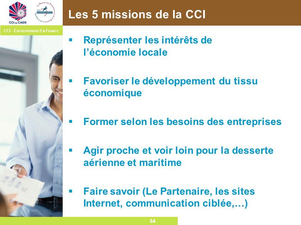 Les 5 missions de la CCI Représenter les intérêts de l'économie locale