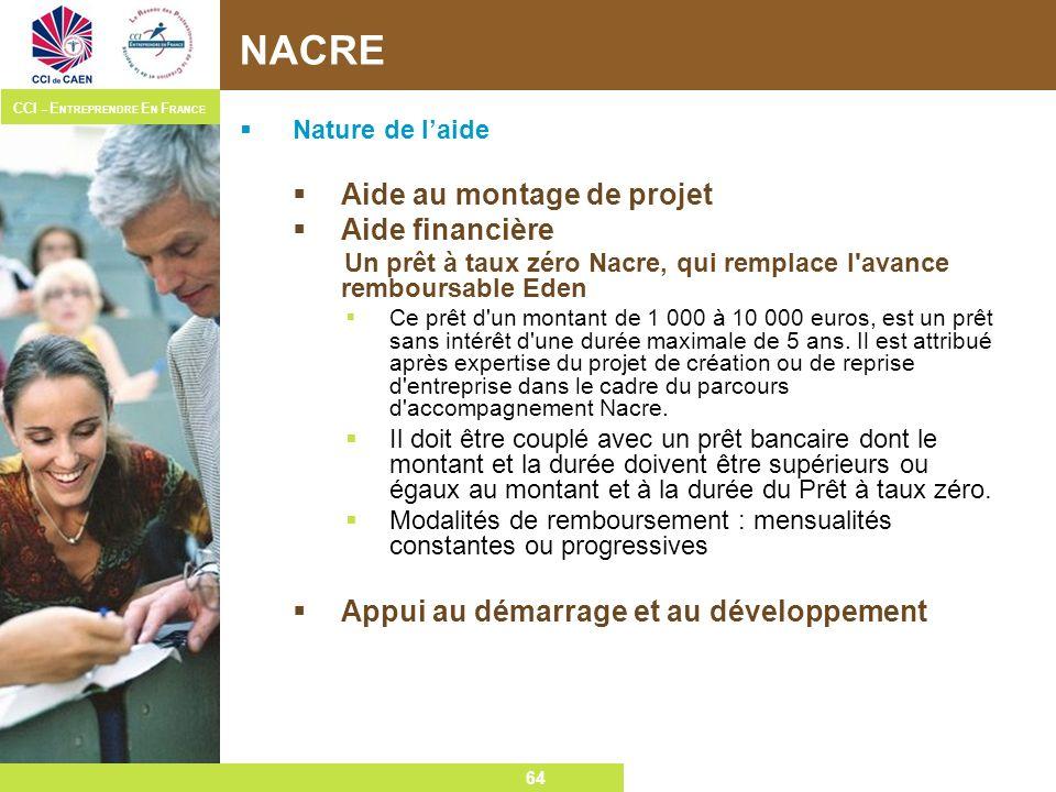 NACRE Aide au montage de projet Aide financière