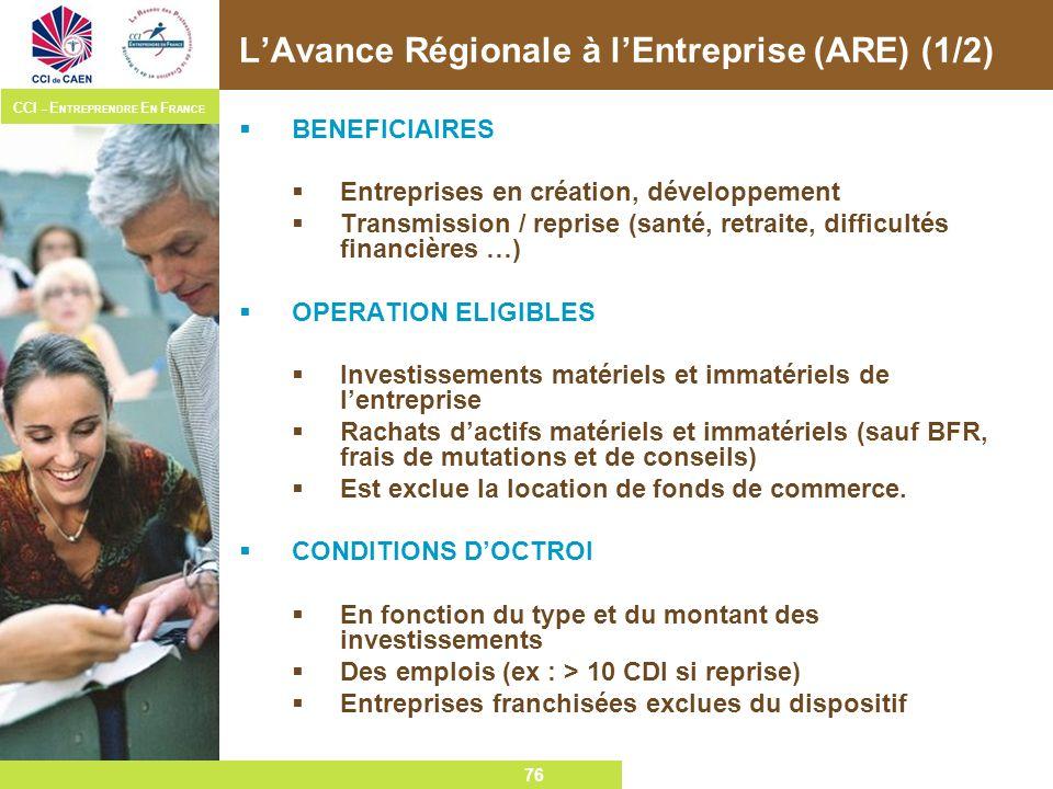 L'Avance Régionale à l'Entreprise (ARE) (1/2)