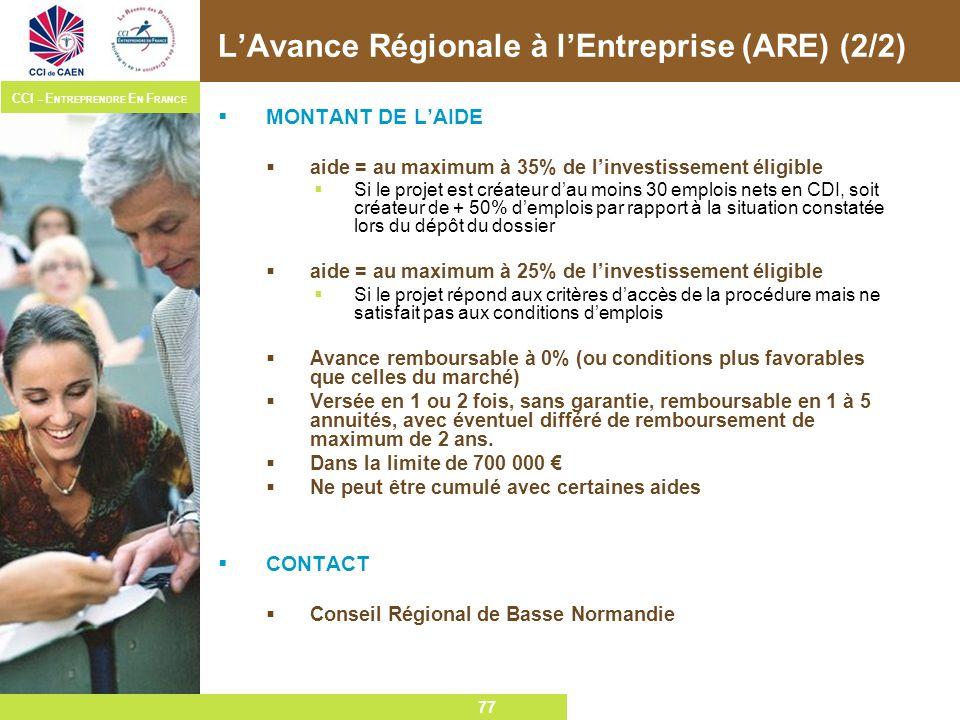 L'Avance Régionale à l'Entreprise (ARE) (2/2)