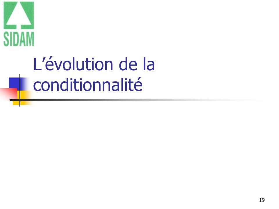 L'évolution de la conditionnalité