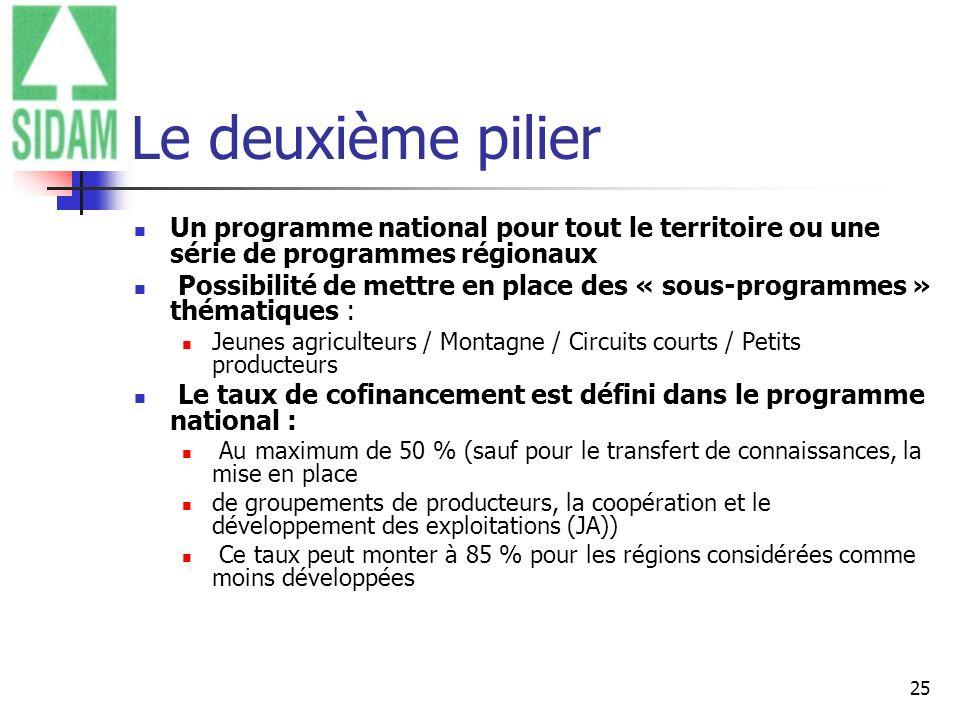 Le deuxième pilier Un programme national pour tout le territoire ou une série de programmes régionaux.