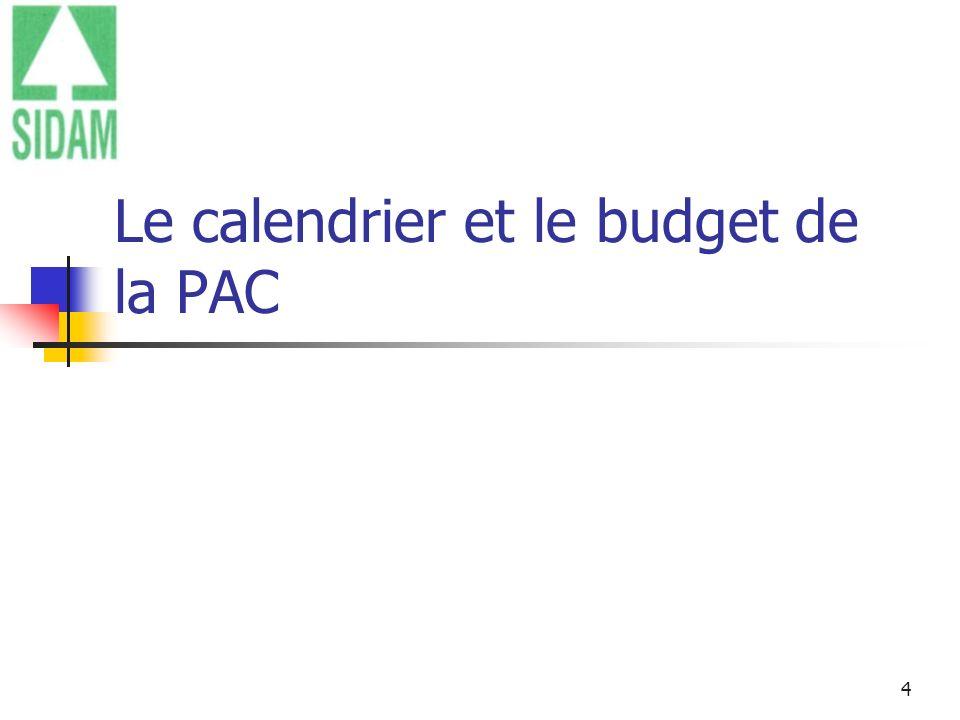 Le calendrier et le budget de la PAC