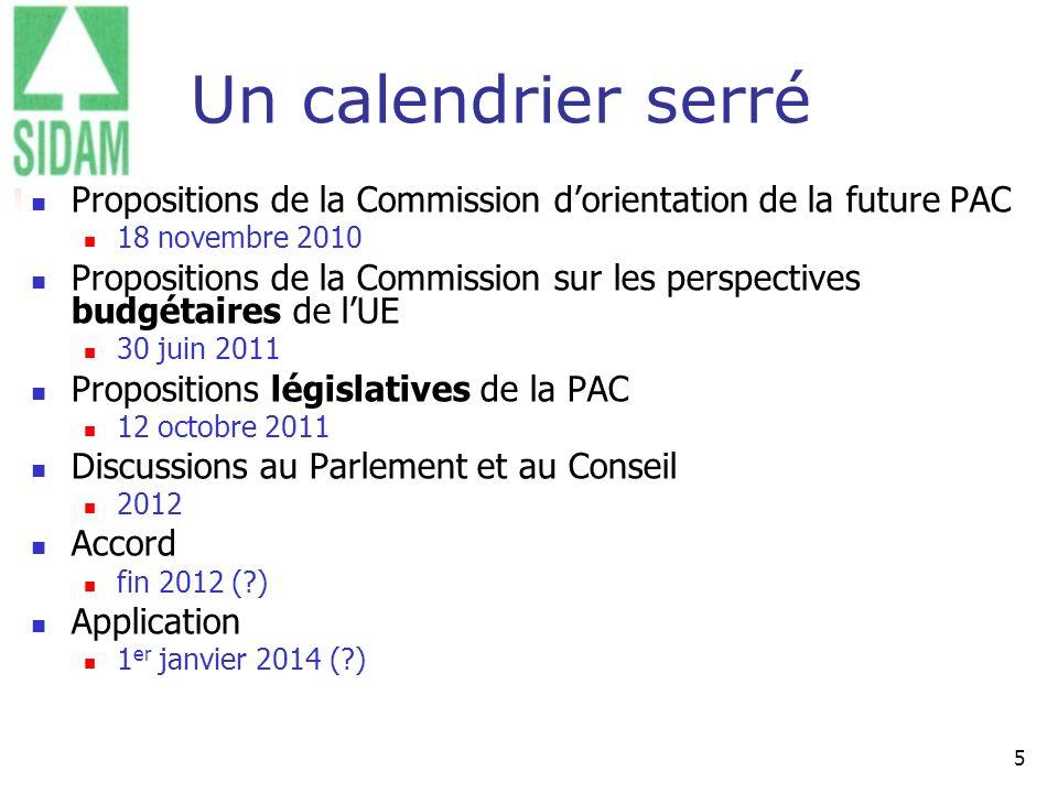 Un calendrier serré Propositions de la Commission d'orientation de la future PAC. 18 novembre 2010.