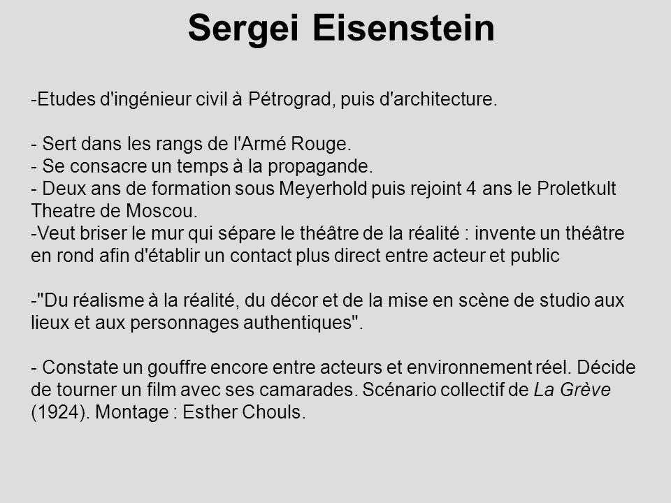 Sergei Eisenstein Etudes d ingénieur civil à Pétrograd, puis d architecture. Sert dans les rangs de l Armé Rouge.