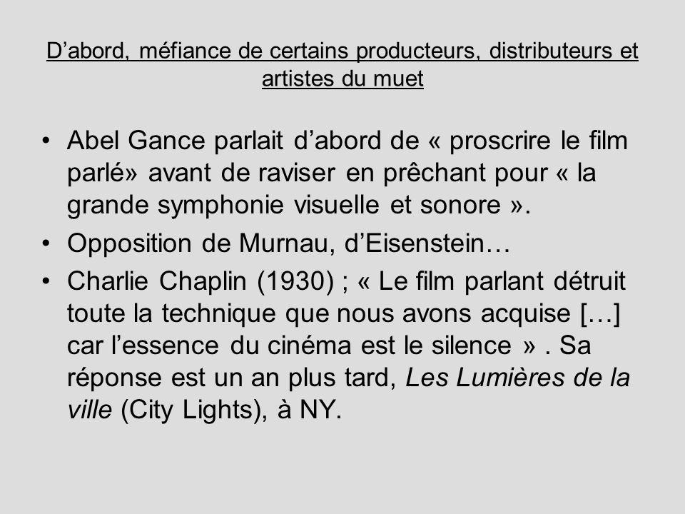 Opposition de Murnau, d'Eisenstein…