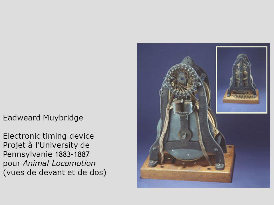 Eadweard Muybridge Electronic timing device. Projet à l'University de Pennsylvanie 1883–1887. pour Animal Locomotion.