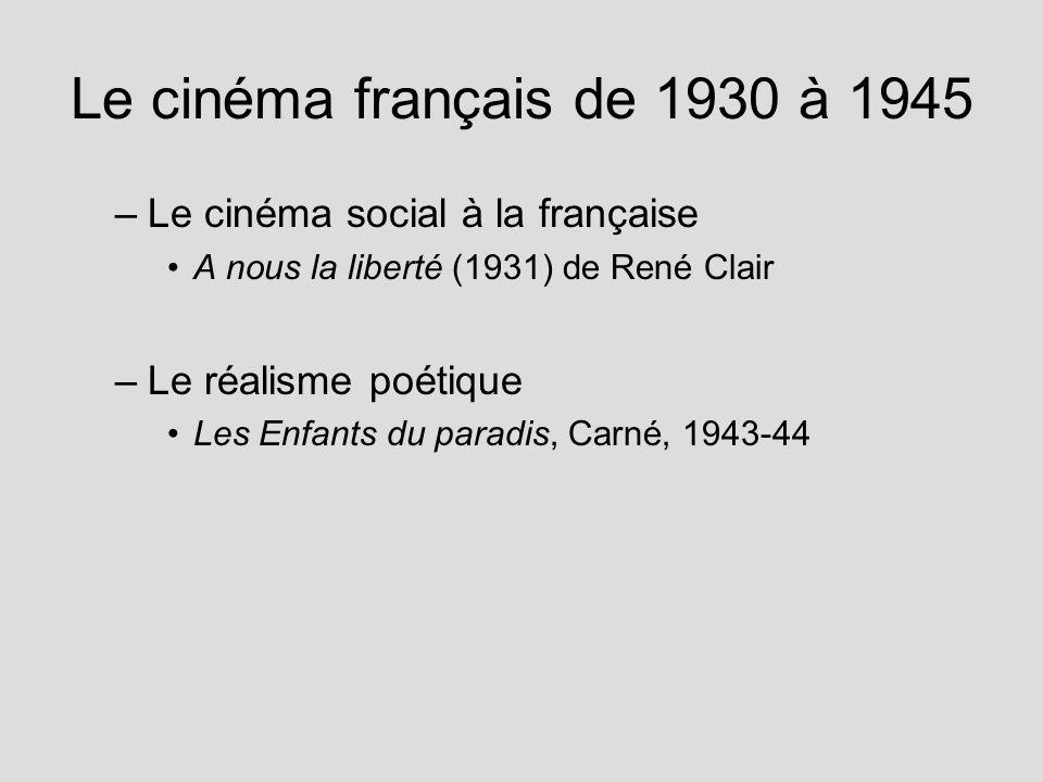 Le cinéma français de 1930 à 1945 Le cinéma social à la française